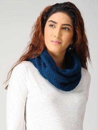 Blue Hand-knitted Woolen Cowl