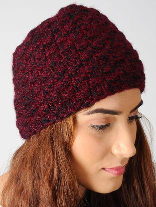 Maroon-Black Hand-knitted Woolen Cap