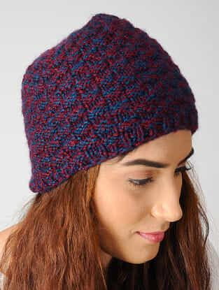 Maroon-Blue Hand-knitted Woolen Cap