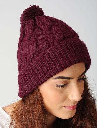 Maroon Hand-knitted Woolen Cap