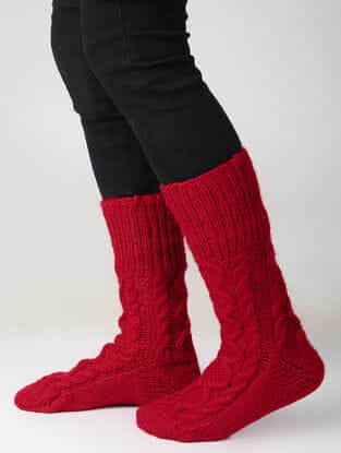 Red Hand-knitted Woolen Socks
