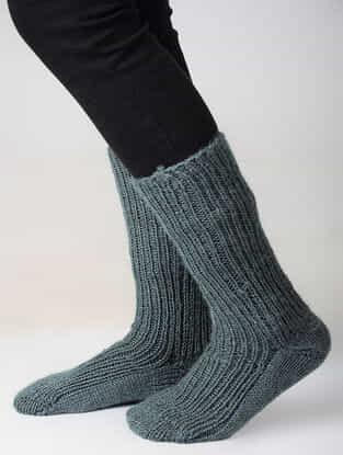 Grey Hand-knitted Woolen Socks