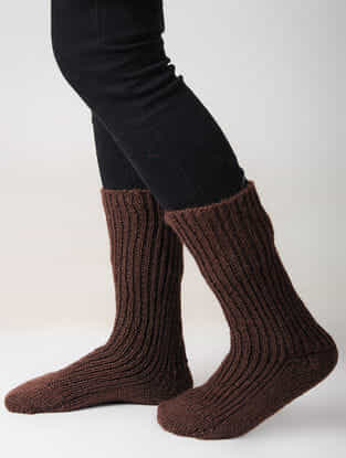 Brown Hand-knitted Woolen Socks