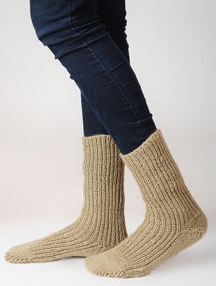 Beige Hand-knitted Woolen Socks