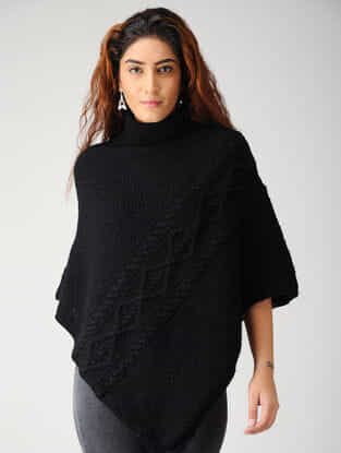 Black Hand-knitted Woolen Poncho