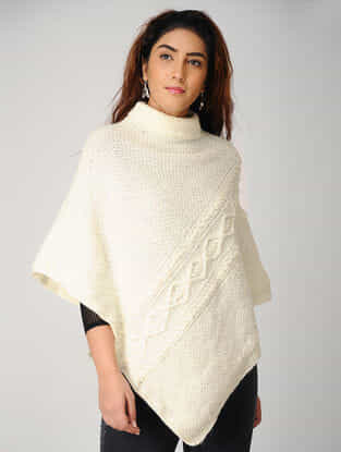 Ivory Hand-knitted Woolen Poncho