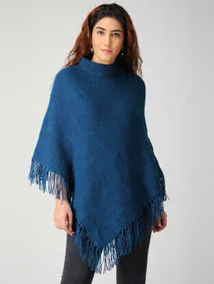 Blue Hand-knitted Woolen Poncho