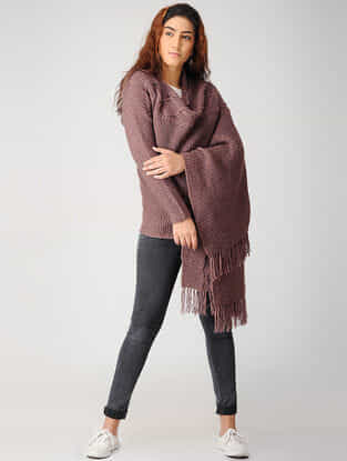 Brown Hand-knitted Woolen Cape