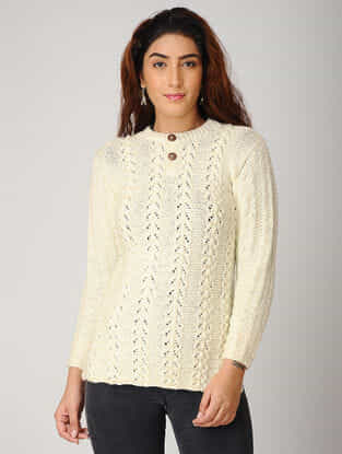 Ivory Hand-knitted Woolen Pullover