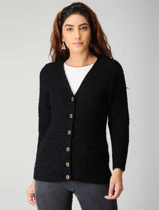 Black Hand-knitted Woolen Cardigan