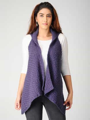 Purple Hand-knitted Woolen Cardigan