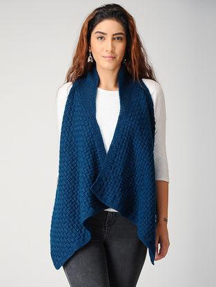 Blue Hand-knitted Woolen Cardigan
