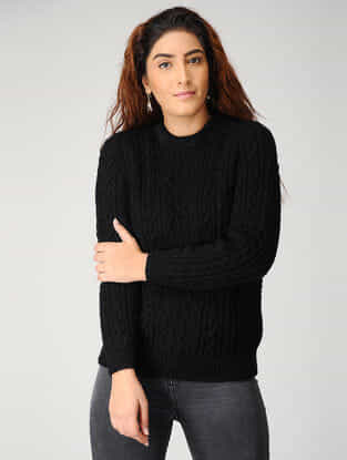 Black Hand-knitted Woolen Pullover