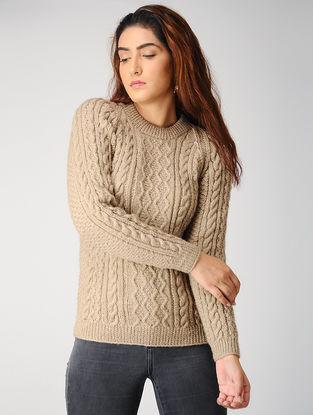 Beige Hand-knitted Woolen Pullover