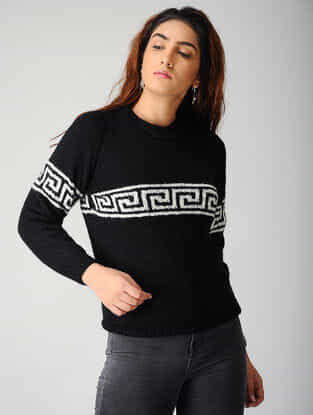 Black-White Hand-knitted Woolen Pullover