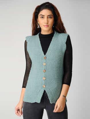 Green Hand-knitted Woolen Cardigan