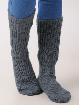 Grey Hand Knitted Wool Ankle Socks (Set of 2)