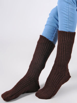 Maroon Hand Knitted Wool Ankle Socks (Set of 2)