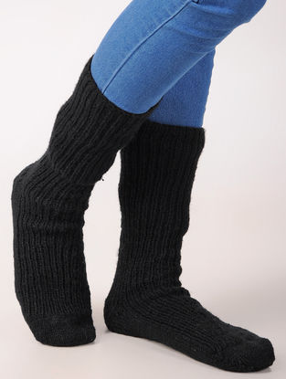 Black Hand Knitted Wool Ankle Socks (Set of 2)