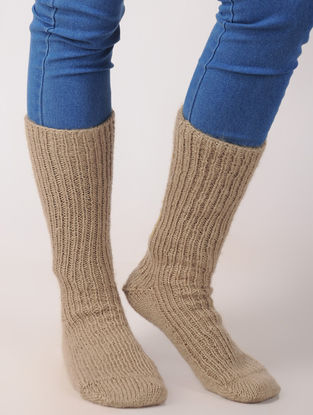 Beige Hand Knitted Wool Ankle Socks (Set of 2)