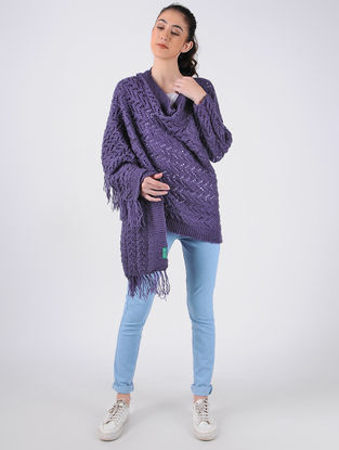 Purple Hand Knitted Wool Cape