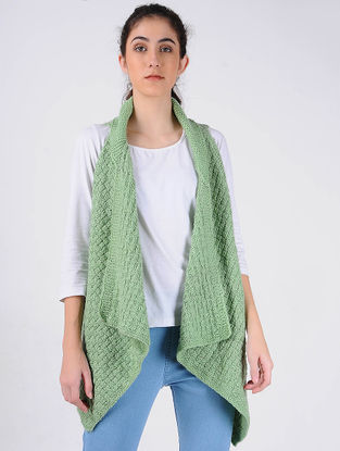 Green Hand Knitted Wool Shrug