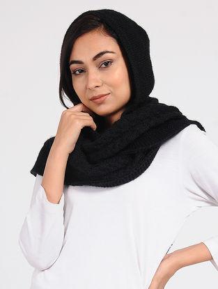 Black Wool Hood Cap