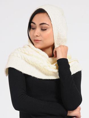 Ivory Wool Hood Cap