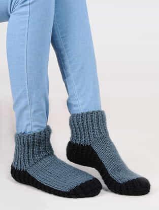 Grey-Black Wool Ankle Socks