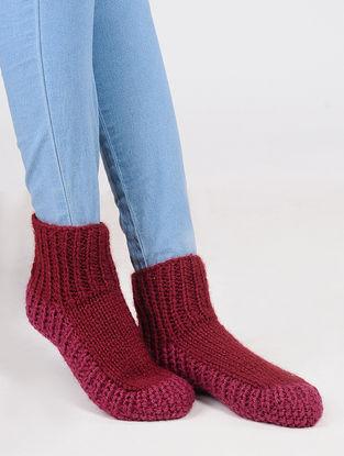 Red-Pink Wool Ankle Socks