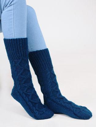 Blue Wool Ankle Socks