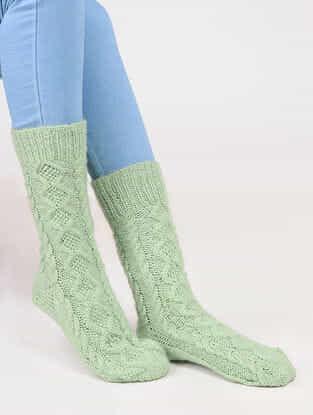 Green Wool Ankle Socks
