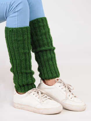 Green Wool Leg Warmer