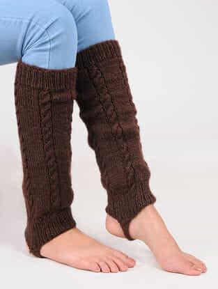 Brown Wool Leg Warmer