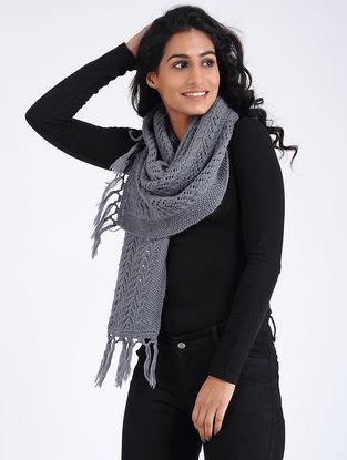 Grey Hand Knitted Wool Muffler