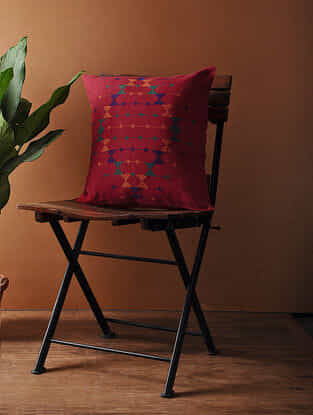 Red-Multicolored Hand Woven Cotton Cushion Cover (16in x 16in)