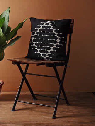 Black-White Hand Woven Cotton Cushion Cover (16in x 16in)