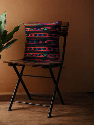Black-Multicolored Hand Woven Cotton Cushion Cover (16in x 16in)
