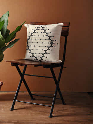 White-Black Hand Woven Cotton Cushion Cover (16in x 16in)