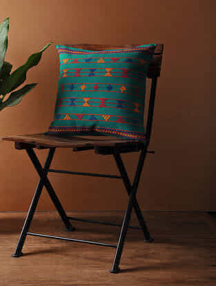 Blue-Multicolored Hand Woven Cotton Cushion Cover (16in x 16in)