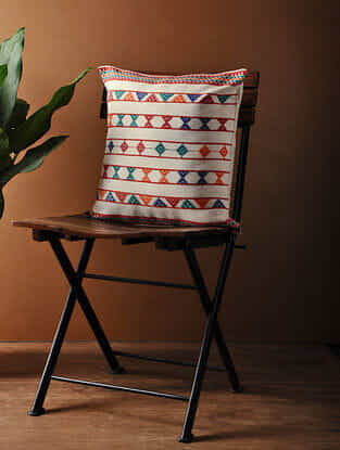 White-Multicolored Hand Woven Cotton Cushion Cover (16in x 16in)