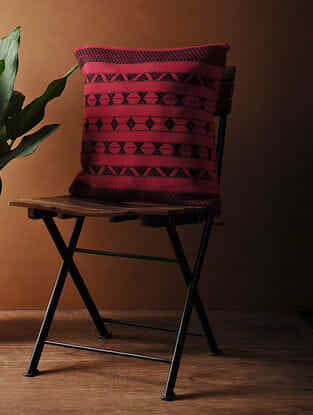 Pink-Black Hand Woven Cotton Cushion Cover (18in x 18in)