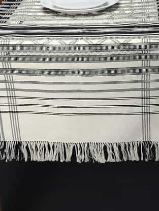 White-Black Hand Woven Cotton Pattu (72in x 24in)
