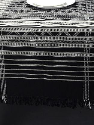 White-Black Hand Woven Cotton Pattu (73in x 24in)