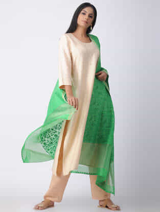 Green Chikankari Chanderi Dupatta with Mukaish and Zari Border