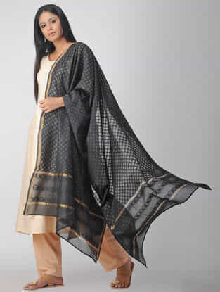 Black Chikankari Chanderi Dupatta with Mukaish and Zari Border