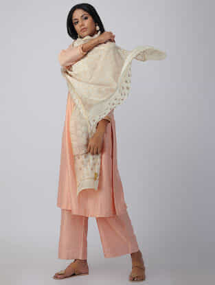 Ivory-Beige Chikankari Chanderi Dupatta with Mukaish and Zari Border