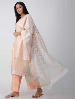 Ivory-Peach Chikankari Chanderi Dupatta with Mukaish and Zari