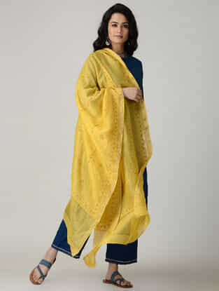 Yellow Chikankari Chanderi Dupatta with Mukaish and Zari