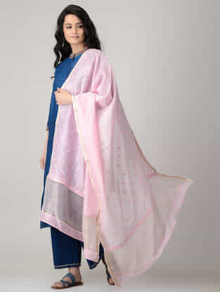 Pink Chikankari Chanderi Dupatta with Mukaish and Zari Border